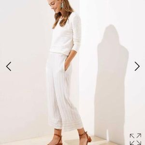 LOFT Striped Fluid Wide Leg Pants
